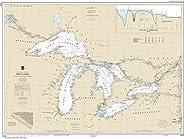 "Noaa Chart 14500 Great Lakes, Lake Champlain to Lake of The Woods: 34.79"" X 45.86"" P"