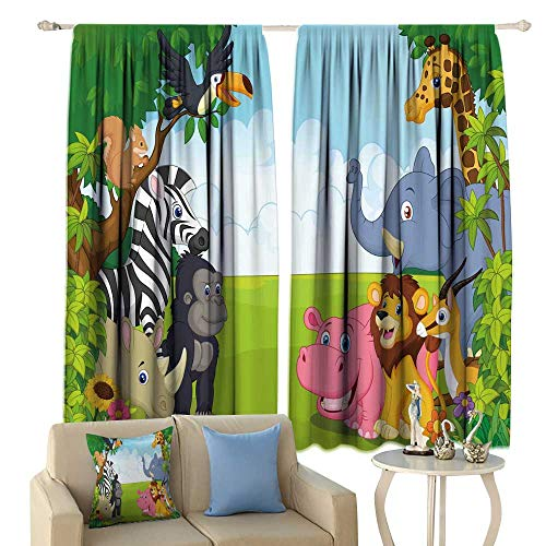 (Kids Large Blackout Curtain Funny Cartoon Collection Animal in The Jungle Picture Room Darkening Window Curtain 108'' x 84'' Multicolor)