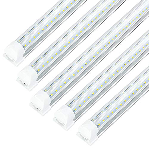 8FT LED Shop Light Fixture - 72W 7200LM, 5000K Daylight White, JESLED T8 Integrated V Shape Tube Lights, High Output Bulbs for Garage Warehouse Workshop, with On/Off Switch, Plug and Play (25-Pack)