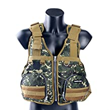 Amairne-made Boat Aid Sailing Kayak Fishing Life Jacket Vest Camouflage-GREEN