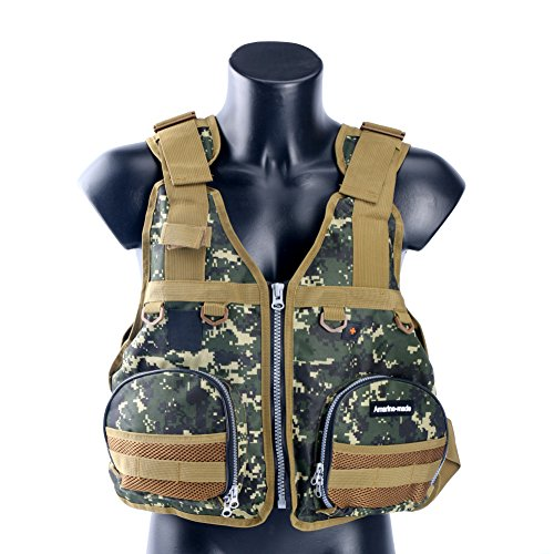Amairne-made Boat Buoyancy Aid Sailing Kayak Fishing Life Jacket Vest Camouflage – D22-Green