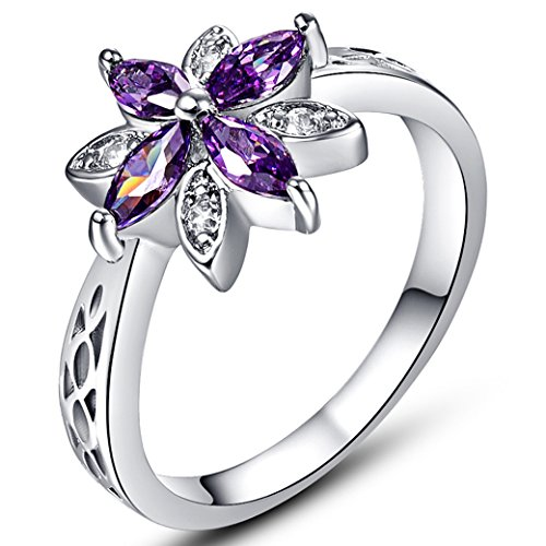 Agate Silver Sterling Flower (Veunora 925 Sterling Silver Created Marquise Cut Amethyst Filled Dainty Flower Ring for Women Size 8)