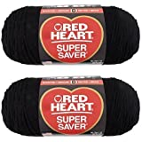 Bulk Buy: Red Heart Super Saver (2-pack) (Black, 7 oz each skein)