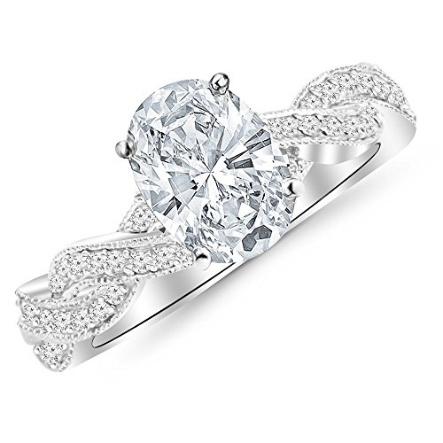 0.73 Cttw 14K White Gold Oval