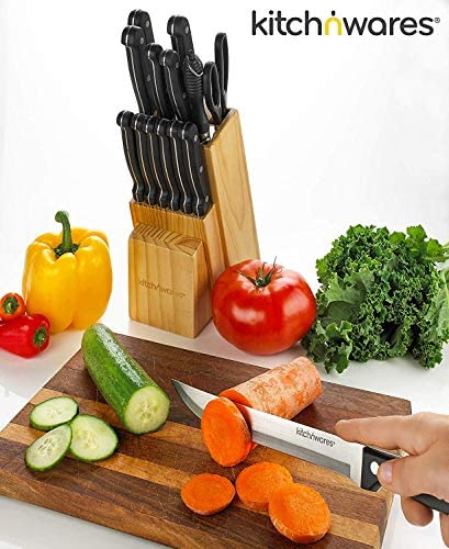 Knife Set With Wooden Block – 15 Piece Set Includes Chef Knife, Bread Knife, Carving Knife, Utility Knife, Paring Knife, Steak Knife, Boning Knife, Scissors And Knife Sharpener. – By Kitch N' Wares 51NdgR5WynL