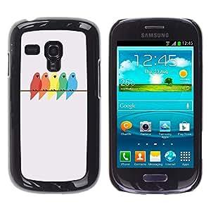 Colores Pájaros Pintura Abedul minimalista - Metal de aluminio y de plástico duro Caja del teléfono - Negro - Samsung Galaxy S3 MINI i8190 (NOT S3)