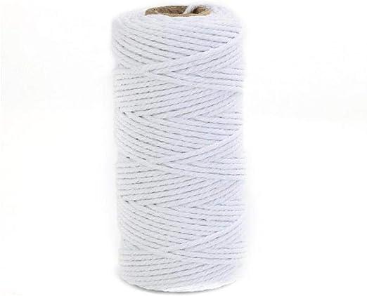 Oulensy Cable de 100m Blanca de algodón Blanco Natural Trenzado ...