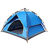 Bormart Automatic Hydraulic Camping Tents, Instant Pop Up 3-4 Person Double Layer Family Tents, Backpacking Sun Shelter Tents With Carry Bag For Camping Outdoor Hiking (blue)