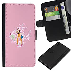 All Phone Most Case / Oferta Especial Cáscara Funda de cuero Monedero Cubierta de proteccion Caso / Wallet Case for Sony Xperia Z2 D6502 // Doll Drawing Cartoon Babe Pink Orange