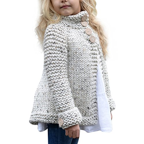FEITONG Toddler Kids Baby Girls Outfit Clothes Button Knitted Sweater Cardigan Coat Tops (Beige, 5-6T)