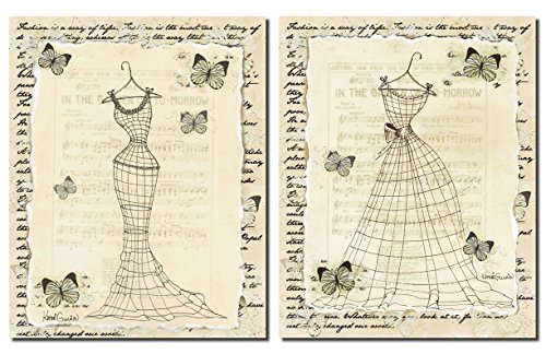 [Vintage Womens Fashion Silhouette Forms; Butterfly and Music Sheet Background; Two 11X14 Poster Prints] (Girl Vintage Sheet Music)