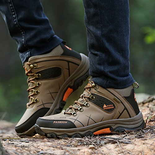 Non Hiking Sneakers Slip Top Big High Climbing Men Size Boots Backpacking Ankle Shoes Khaki GOMNEAR Walking Trekking Outdoor Support 8wCqHTdq