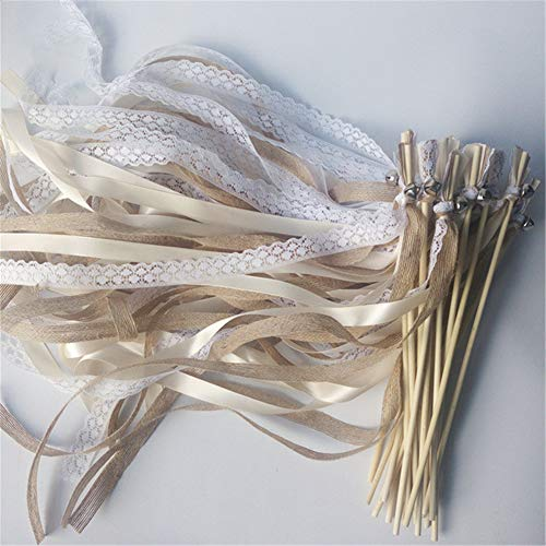 50pcs Champagne Lace Wedding Satin Ribbon Wands with Bell Twirling Streamers Party Decorative Ribbon Stick