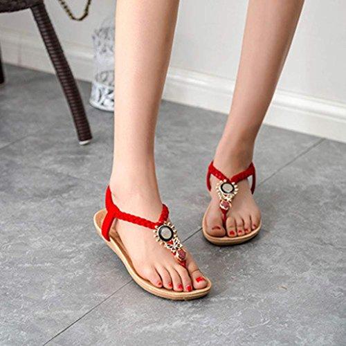 Sandalias Bohemia,Xinantime Zapatos de la playa sandalias con cuentas Rojo