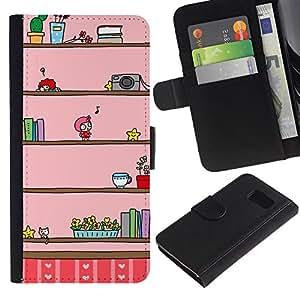 iBinBang / Flip Funda de Cuero Case Cover - Cámara Música Niños de dibujos animados Pink Dibujo - Samsung Galaxy S6 SM-G920