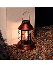 solarbetriebene wetterfeste Outdoor Metall Laterne – Retro Glühbirnen Design - mit Glühfaden-Filament-LEDs – inkl. Akku, Solarpaneel, Dämmerungsschalter, von Festive Lights (Kupferfarben)