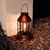 Festive Lights - Copper Filament Lantern - Solar Powered LED Light Bulb - Outdoor Ha