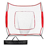 Promover Baseball Softball Practice Net 7×7 for Practice Hitting, Pitching, Batting, Fielding and Catching, Portable Backstop Training Aid, Large Mouth with Gloves & Carry Bag