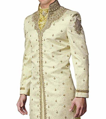 INMONARCH Mens Royal Bollywood Designer Wedding Sherwani SH171 40S Cream