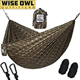 Wise Owl Outfitters Hammock Camping Double & Single with Tree Straps - USA Based Hammocks Brand Gear, Indoor Outdoor Backpacking Survival & Travel, PortableDO CAMO