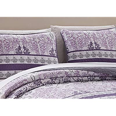 Kids Zone Home Linen 3 Piece Full/Queen Over Size Bedspread Set Damask Printed Pattern Lavender Purple White Grey: Home & Kitchen