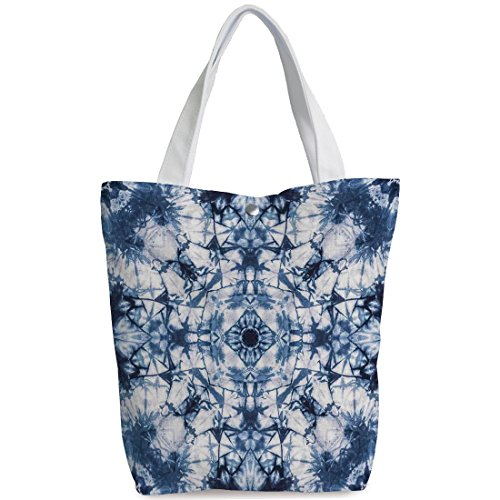 iPrint Canvas Shopping bag,shoulder handbags,Shoulder Bag,Tie Dye Decor,Old Fashion Kaleidoscope Loose Unfold Motley Pattern with Inner Outer Layers,Indigo Grey,Personalized Canvas Tote ()