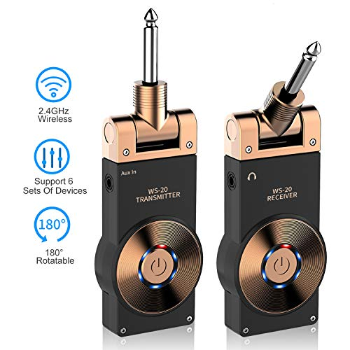 - LEKATO Wireless Guitar System, 2.4GHz 6 Channels Audio Guitar Transmitter Receiver, Built-in Rechargeable Battery, for Electric Guitar Bass Violin Keyboard