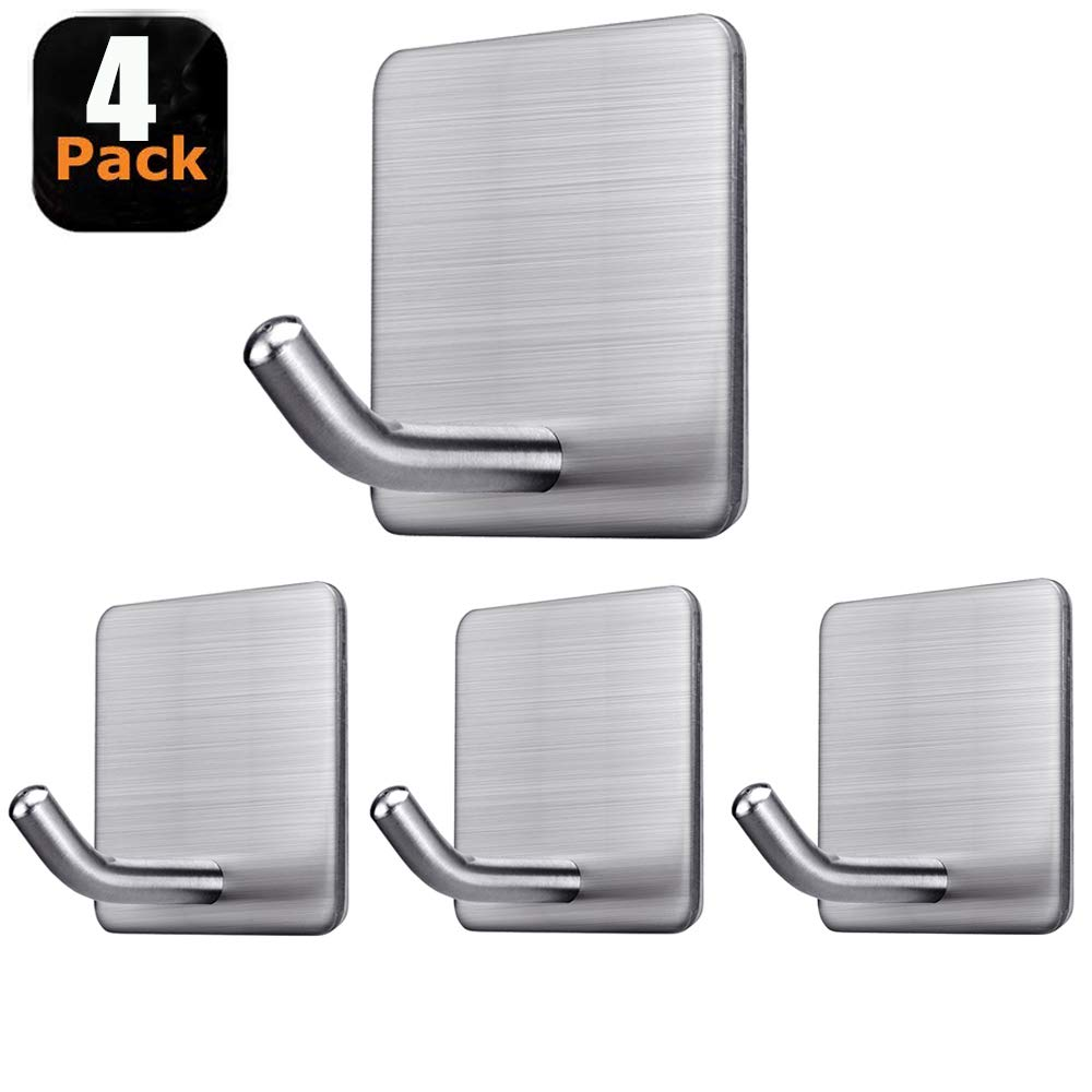 Fotosnow Adhesive Hooks Stick on Hooks Heavy Duty Wall Hooks Hangers for Hanging Bathroom Kitchen Home Door Closet Cabinet-Stainless Steel-4 Packs