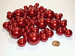80 Jumbo and Assorted Sizes ALL RED PEARLS Vase Fillers Value Pack - NOT INCLUDING the Transparent Water Gels for Floating the Pearls (Sold Separately)