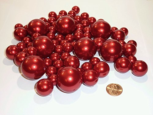 2 Packs Jumbo & Assorted Sizes All Red Pearls Vase Fillers Value Pack for Centerpieces - To Float the Pearls, Order the Transparent Water Gels