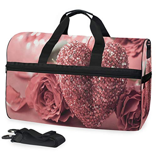 - Valentines Day Background With Heart And Roses Gym Bag with Shoes Compartment Sports Swim Travel Overnight Duffels