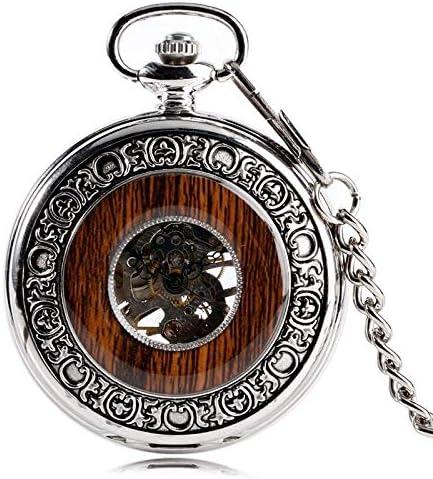 懐中時計、シルバーホロー歯車カバー手巻き機械式30cmチェーンローマ数字スケルトンダイヤルメンズ時計ギフト