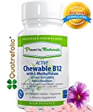 "Chewable Active B12 with L-methylfolate (L-5 MTHF) | Active Vitamin B12 1,000mcg + Methyl Folate""Quatrefolic"" 1,000 mcg (5-MTHF / B12) 