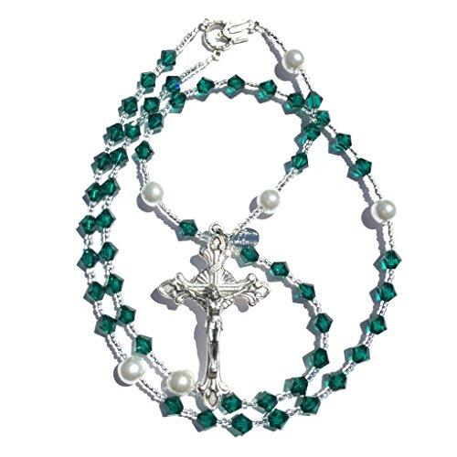 Rana Jabero Emerald (May Birthstone) Swarovski Crystal and Pearl Prayer Catholic - Emerald Crystal May