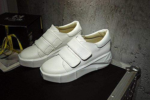 Keilabsatz Damen Paillette Durchgängig Weiß Plateau Klettverschluss Kunstleder Basic Sneakers Aisun 0RTxZSqR