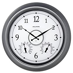 AcuRite 75455M LED Illuminated Outdoor Clock, 18, Pewter