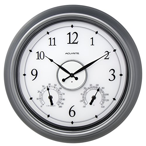 AcuRite 75455M LED Illuminated Pewter Outdoor Clock, 18