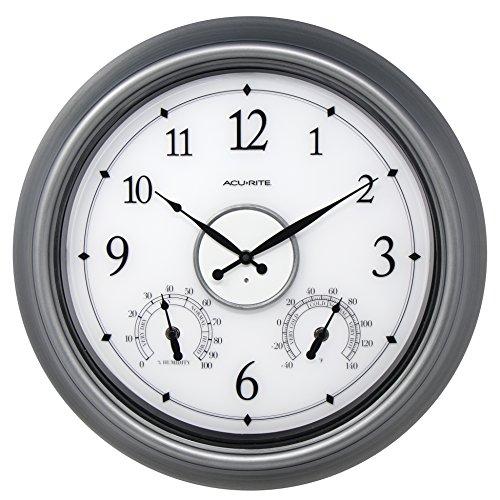 (AcuRite 75455M LED Illuminated Pewter Outdoor Clock, 18