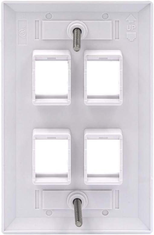 White UL Listed VCE 10 Pack 4-Port Keystone Wall Plate Keystone Jack Modular Inserts