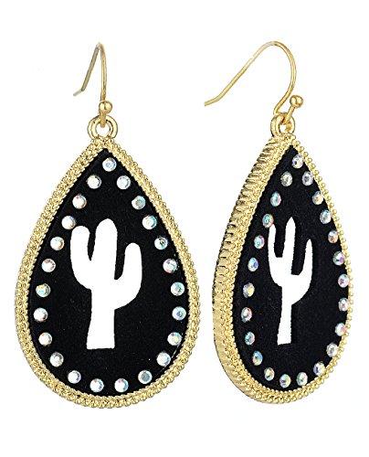 (Women's Faux Leather Cactus Silhouette Teardrop Dangle Pierced Earrings, Black/Gold-Tone)