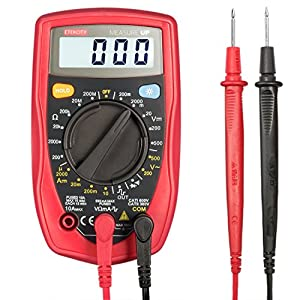Etekcity MSR-R500 Digital Multimeter , Electronic Volt Amp Ohm Meter with Diode and Continuity Test, Backlight LCD Display (Red)