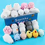 Tinabless Mochi Squishy Toys, 20Pcs Kawaii Squishy Cat Anxiety Relief Toys for Kids Adults, Mini Squishies