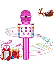 SunTop Wireless Karaoke Microfoon Bluetooth Handheld Portable Speaker huis KTV-speler met Dancing LED verlichting Opname functie for Kids Party Zingen, compatibel met Android en iOS-apparaten
