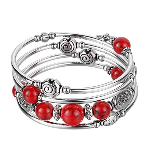 Beaded Pearl Bangle Wrap Bracelet - Fashion Bohemian Jewelry Multilayer Charm Bracelet with Thick Silver Metal Beads, Gift for Women and Girls (Red) ()