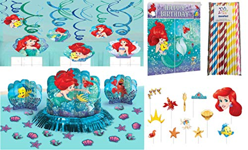 Ariel, The Little Mermaid Dream Big Birthday Party Decorating Kit: Hanging Swirls, Scene Setter with Photo Props, Table Decorating Kit and ElevenPlus2 Paper Straws -
