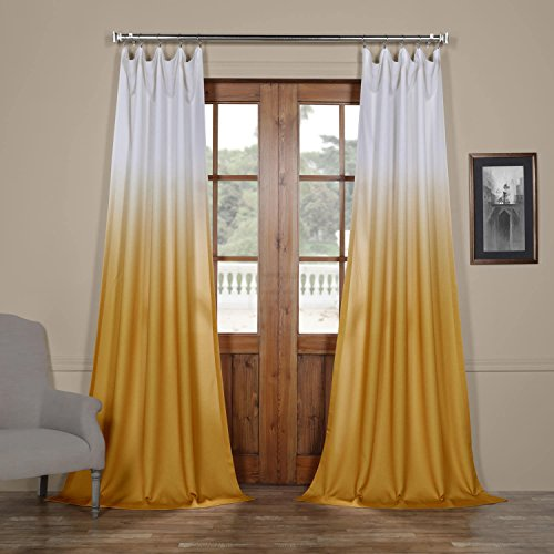FELCH-OMB1703-84 Ombre Faux Linen Semi Sheer Curtain, Gold, 50 x 84 (Ombre Gold)