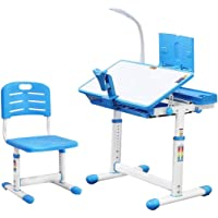 Liftable Height Adjustable Ergonomics Children Study Desk and Chair, Childs Desk School Student Writing Desk, Children Home School Study Desk, Tiltable Desktop Design, Non-Slip Table Legs (Blue)