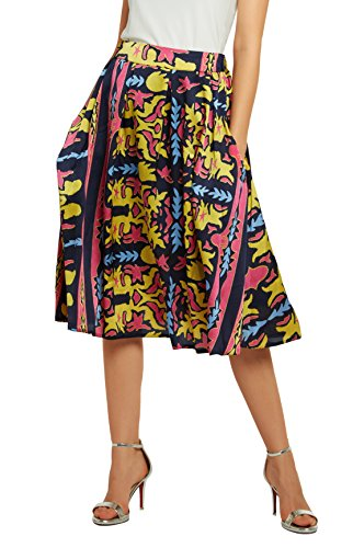 Women's Flared A line Pocket Skirt High Waist Pleated Midi Skirt (M, 6)