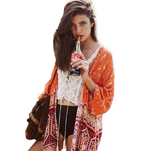 - Lookatool Women Boho National Printed Chiffon Shawl Kimono Cardigan Tops Blouse (L, Orange)