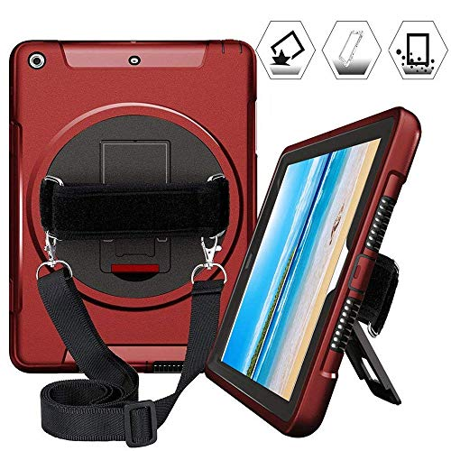iPad 9.7 2018 2017 Case, Multi Functional Heavy Duty Three Layer Rugged Shockproof Protective Case with 360 Degree Swivel Kickstand/Hand/Shoulder Strap for iPad 5th/6th Generation iPad, Red